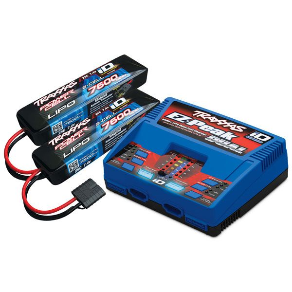 pack chargeur 2972g 2 x lipo 2s 7600mah 2869x prise traxxas