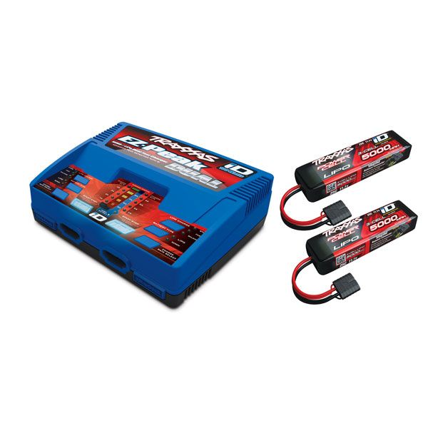 pack chargeur 2972g 2 x lipo 3s 5000mah 2872x prise traxxas